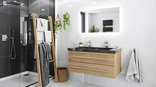 Mueble de baño granito Galaxy Black Damo 100cm 2 agujero Roble claro y espejo