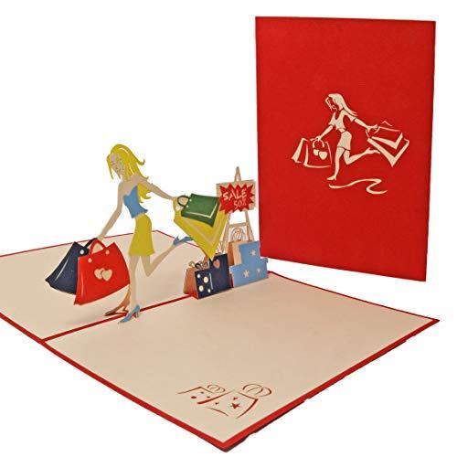 Favour Pop Up Grusskarte - Shopping Girl. Die perfekte Glückwunschkarte zum Geburtstag, auch für Gutschein oder Geldgeschenk. ALTF051