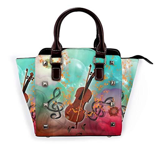 Damen Umhängetasche Dackel Wurst Hund, hochwertig, elegant, Echtleder, Nieten, Blau - Violine mit Violinenbogen - Größe: Einheitsgröße