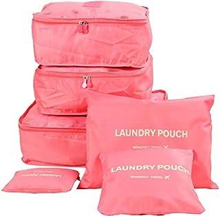 حقيبة منظمة لأمتعة السفر 6 قطع، لون احمر