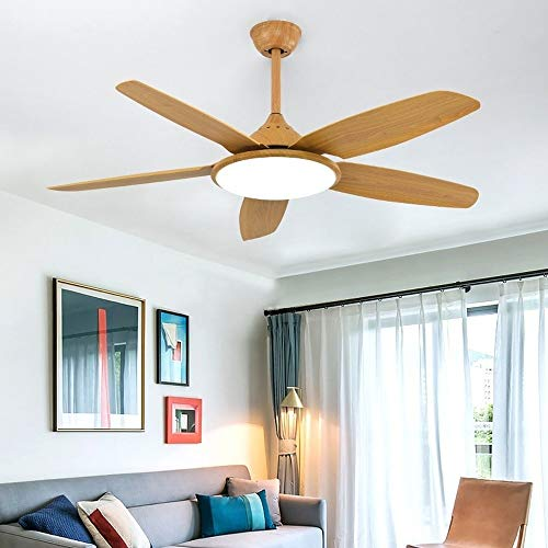 OUPPENG Lámpara de Ventilador Ventilador de techo de color de madera de 52 pulgadas de nuez con luces Control remoto DC Frecuencia Ventilador Lámpara Reversible Lámpara de Inicio Silencio