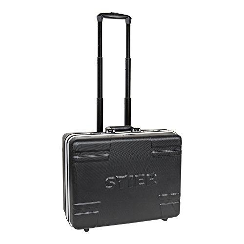 STIER Werkzeugkoffer Trolley leer, robust durch hochwertigen ABS-Kunsstoff und Aluminium, schwarze Toolbox auf Rollen, nie wieder Werkzeug suchen Dank praktischen Taschen, inkl. Sicherheitsschlösser