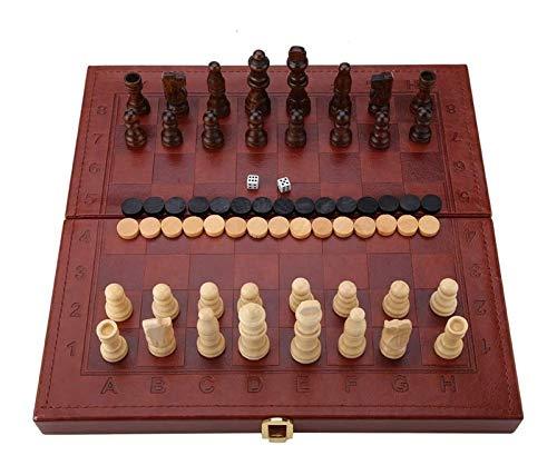 L.J.JZDY Schachbrett 3-in-1-Holzschach-Set-Checkers Backgammon-Set mit faltender Tragetasche für Kinder tragbare Tischplatte