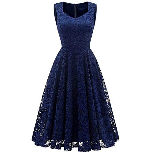 Damen Spitzen Ärmellos Cocktailkleid, 1950 er Rockabilly Abendkleid Tüll Elegant klassisch A-Line 2019 Sommer Mode Mesh PartyKleid showsing (L - Bust:94cm/37.01'', Marine)