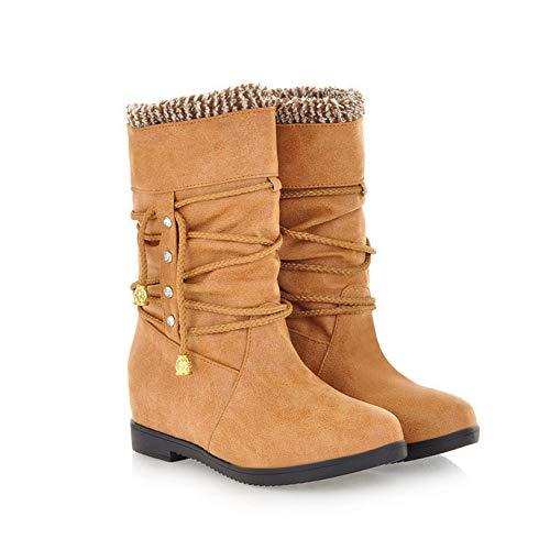 FDCVS Botas Plisadas de Moda para Mujer, Zapatos de Estilo Vaquero Occidental de tacón Medio, Botas Cortas, Raquetas de Nieve con Punta Redonda, Mantener el Invierno cálido,Yellow-38