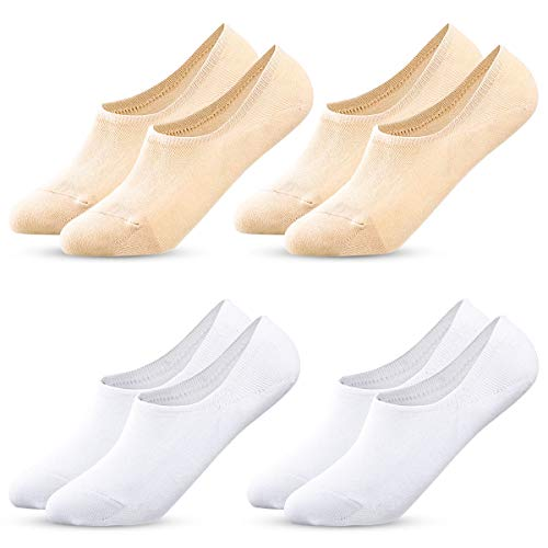 MELLIEX 4 Pares Calcetines de Invisibles Mujer, Calcetines de Cortos Tobilleros Calcetin de Algodón con Silicona Antideslizante
