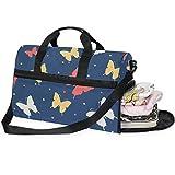 FAJRO Sporttasche Reisetasche Duffel Express Weekender Tasche Bunte Schmetterlinge Handgepäck mit...