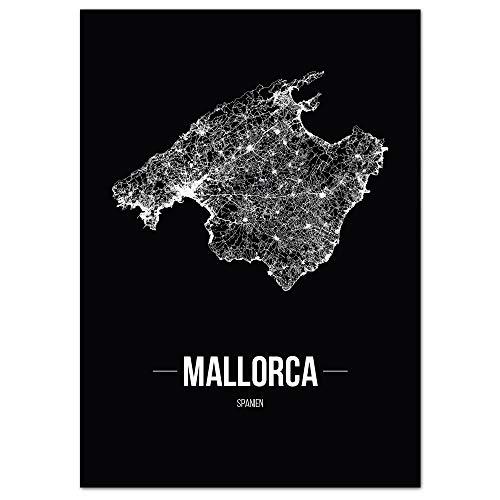 JUNIWORDS Stadtposter, Mallorca, Wähle eine Größe, 40 x 60 cm, Poster, Schrift B, Schwarz