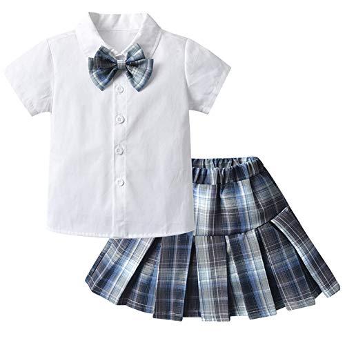Julhold Traje de Estudiante Uniforme JK Uniforme de Estilo Universitario Japonés Niños de Manga Corta Blanco 1PC Camisa+1PC Falda Corta Plisada a Cuadros