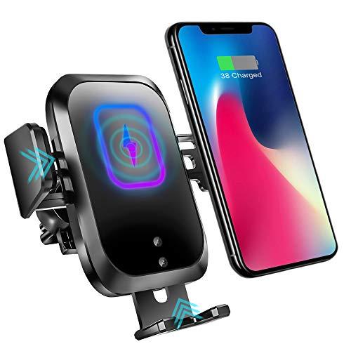 15W Caricabatteria Wireless Auto, Supporto per Telefono con Sensore Automatico, a Ricarica Rapida Qi, Supporto per Presa d'Aria, per iPhone, Samsung, Huawei e Altri, Tutti i dispositivi Qi (15W)