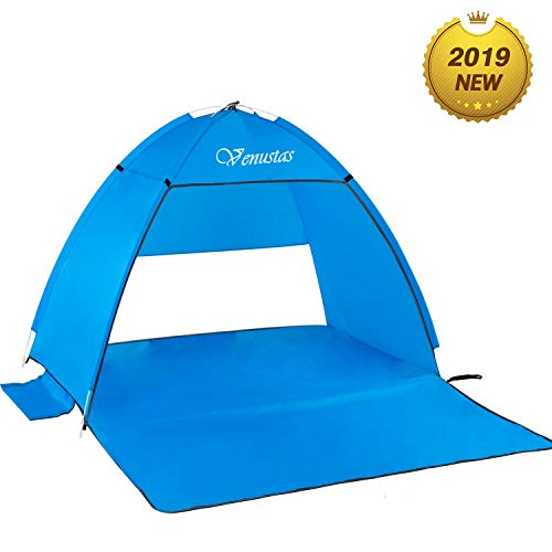 Venustas Beach Tent Beach Umbrella Outdoor Sun Shelter Canopy Cabana UPF 50+ Sun Shade Easy Set Up 3-4 Person,...