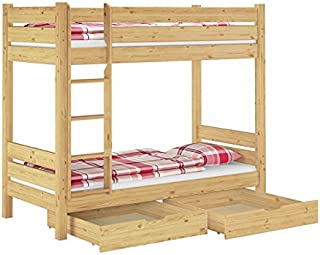 Erst-Holz Lit superposé pour Adultes en pin Naturel Confortable 100x200 avec literie et 2 tiroirs 60.16-10MS2