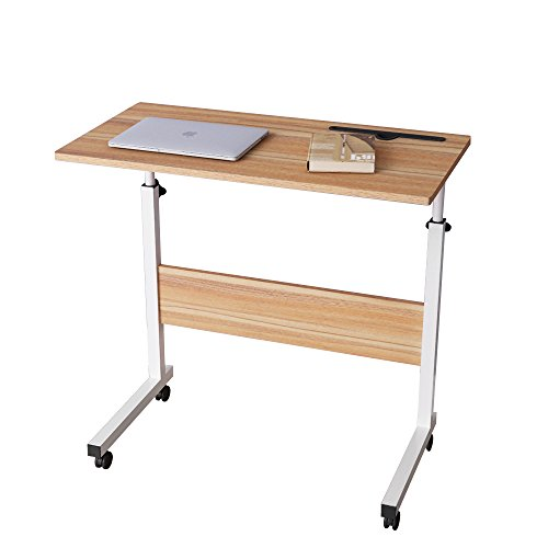 DlandHome Laptop Stand Adjustable 80 * 40cm Computer Standing Desk w/Wheels Portable Side Table for Bed Sofa Hospital Reading Eating, ZS-5#3 Oak + Tablet Slot