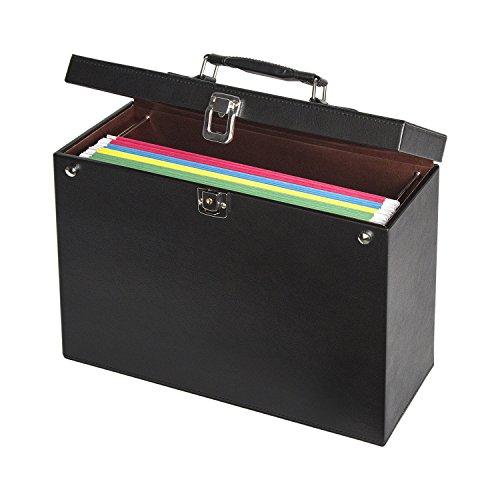 JackCubeDesign Leather Office File Hanging File Folder Filing Cabinet Document Storage Box Organizer Holder Hanger for Briefcase Bag with Key Lock(Black, 13.8 X 5.6 X 11 inches)- :MK151A