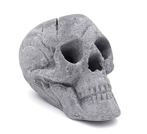 OSKER Ceramic Fireproof Faux Human Skull Decor for Wood or Gas Fire Pit, Fireplace, Campfire, BBQ, or Halloween Decoration -...