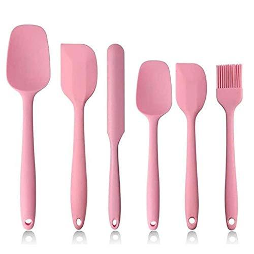 Set di 6 Spatole in Silicone per Cucina, Spatole in Silicone Antiaderente ad alta Resistenza al Calore BPA Set per Cottura, Cottura e Miscelazione, con Robusto Design in Acciaio Inossidabile. (rosa)