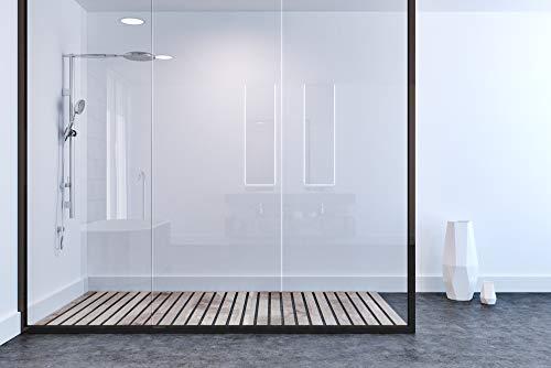 Duschrückwand aus hoch schlagzähem Kunststoff zur vollflächigen Verkleidung auf bereits vorhandenen Fliesen oder anderen Materialien (weiß/glänzend)
