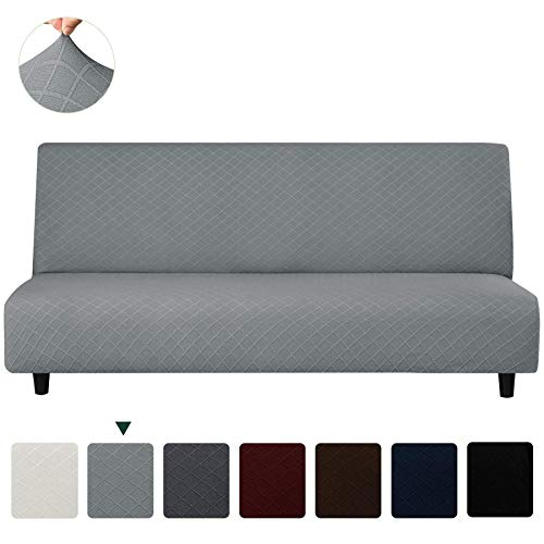 CHUN YI Rhombus Jacquard Armless Sofa Slipcover Elastic Fitted Full Folding Sofa Bed Cover Without Armrests Removable Non-Slip Furniture Protector for Futon Couch Bench RV Sofa (Light Gray)