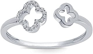 La Joya 0.05 cttw Round White Diamond Sterling Silver Open Ring Adjustable Ring Clover Promise Cuff Ring