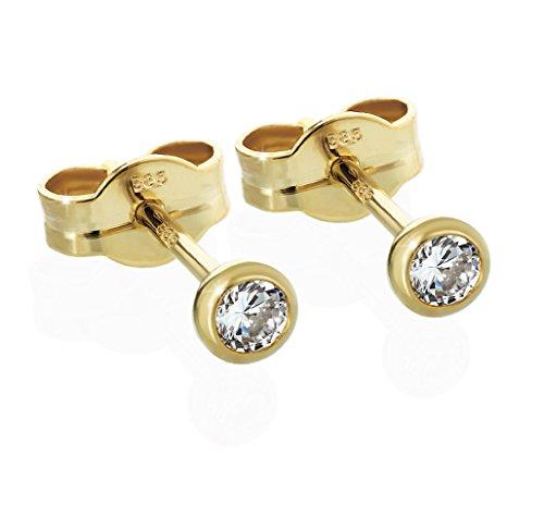 NKlaus Paar Ohrstecker Gold 585er 4,0mm Cubic Zirkonia Damen Herren Kinder 2062