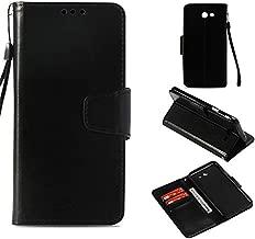 For Samsung Galaxy J3 Emerge Case /J3 Eclipse /J3 Mission /J3 2017 /J3 Luna Pro/J3 Prime/Sol 2/Amp Prime 2,Voanice Wallet PU Leather Flip Protective Cover with Card Slots Holder Kickstand&Stylus-Black
