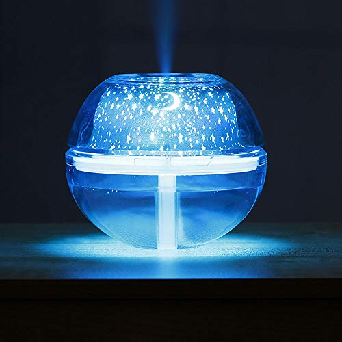 BXzhiri Portable Mini Humidifier - USB Colorful LED Projector Light Humidifier Crystal Projection Lamp Night Lamp for Bedroom, Home Office, Car or Travel, Super Quiet Operation