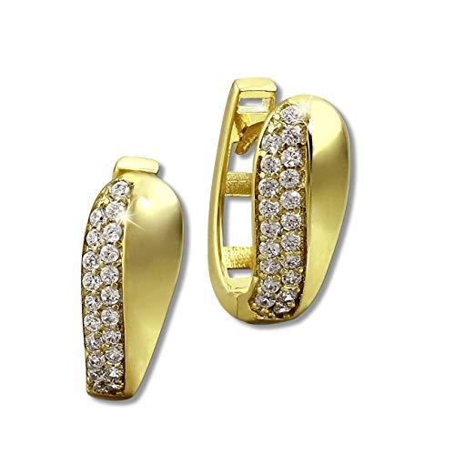 GoldDream Creolen Glamour Zirkonia weiß Damen 333 Gelbgold Ohrringe D3GDO526WY Gold, Gelbgold Ohrschmuck für die Frau