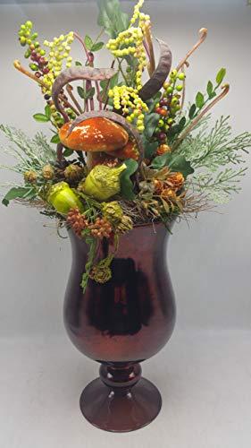 Seidenblumengesteck Herbstgesteck Pilze Beeren Schoten Eicheln Glaskelch braun