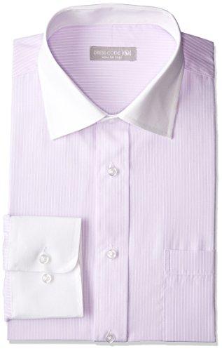 [ドレスコード101] 形態安定 ワイシャツ 豊富なサイズでピッタリが見つかる 長袖 メンズ ビジネス ボタンダウン ワイドカラー Yシャツ SHIRT-Z0 ZW003 ピンクパープル 首回り39×裄丈82 (日本サイズM相当)