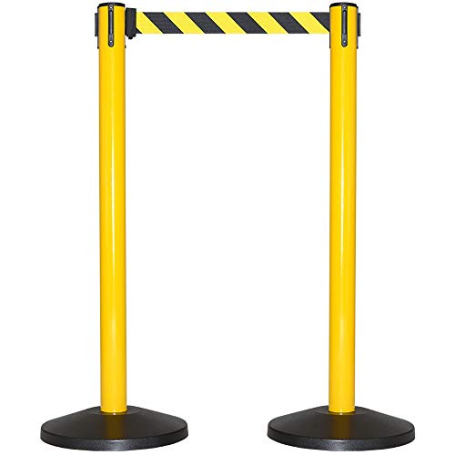 CCW Series RBB-100- Set of 2 Stanchion Retractable Belt Barriers- Easy to Assemble, No Tools Required (10 Foot Belt, Black/Yellow Belt with Yellow Post)