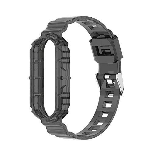 Sunbose La pulsera de TPU transparente que cambia de color es compatible con Mi Band 6 / Mi Band 5. Correas de pulsera intercambiables en varios colores. (Negro transparente)