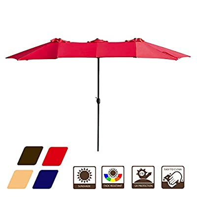 LOKATSE HOME 15 Ft Double Sided Outdoor Umbrella Rectangular Large with Crank for Patio Shade Outside Deck or Pool, Red