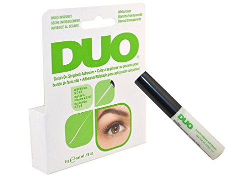 Duo Brush on Striplash Adhesive White/clear for Strip Lashes False Lashes Thin Brush Allows Effortless Application- Size 5 G / 0.18 Oz by Godefroy