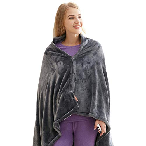XHCP USB Heated Warm Shawl, Heated Shawl Electric Blanket, Electric Heated Plush Throw Blanket With Pillowcase, Heated Cape Heating Lap Blanket, For Shoulder And Neck- Keep Warm And Re