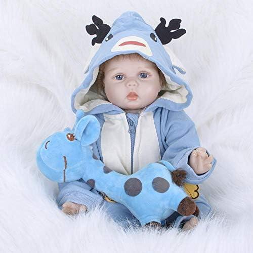 Hongge Reborn Baby Doll,Lebensechte Silikon Reborn Puppe Spielzeug lebensechte Neugeborene Puppe 55cm