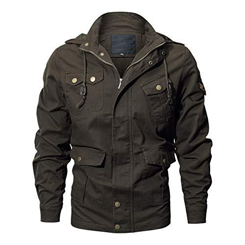 Zarupeng Herren Casual Langarm Kapuzenjacke Top Einfarbig Outdoor Military Jacke Reißverschluss Hoodies Mantel Sweatjacke