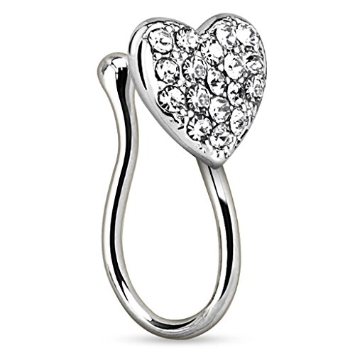 Piercingfaktor Fake Ring Non Piercing Nasenpiercing Nasenring Hoop Clip On Septum Nasenstecker Nase Messing Herz mit Kristallen Silber