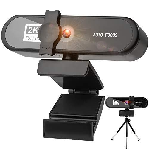 Webcam mit MikrofonFull HD 2K Streaming Webcam fur PCLaptopMacPlug and PlayWebkamera mit Stativ AbdeckungWebcam USB mit Autofokus und Weitwinkel fur YouTubeSkype VideoanrufeKonferenzSpielen