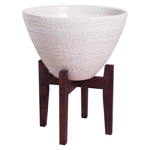 プラスガーデン 水蓮鉢 シェル 木製スタンド付 Φ300mm 底穴なし ホワイト 信楽焼 530-31
