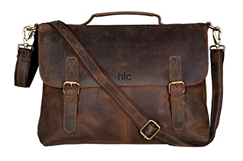 Handolederco 15' Buffalo Leather Vintage Rustic Leather Messenger Laptop Briefcase Satchel Bag for Men and Women