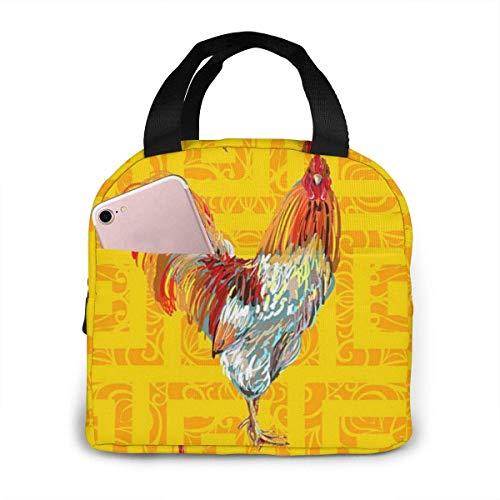 N\A Wiederverwendbare isolierte Lunch-Einkaufstasche Nutztier Hahn Hen Cock Lunch Bag Gourmet Lunchbox Handtasche für Travel Shopping School Work Picknick