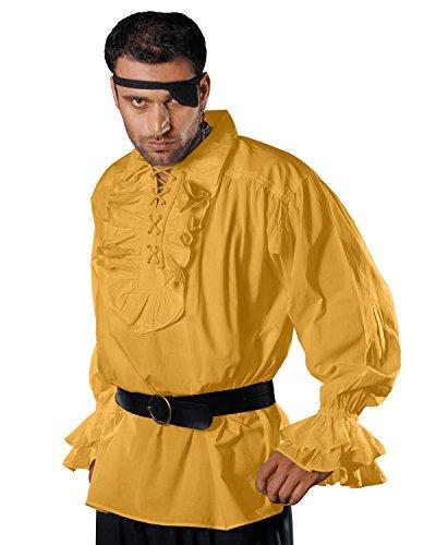 Medieval Poet Pirate Renaissance Costume 100% Cotton Shirt C1011 (Gold) (X-Large)