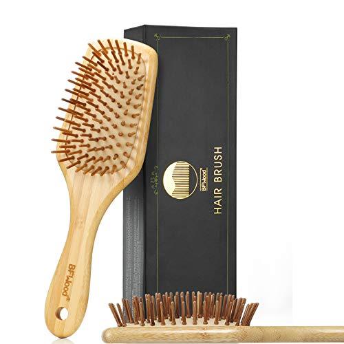 BFWood Haarbürste zum Entwirren von dickem und lockigem Haar – Bambusgriff mit abgerundeten Holzborsten,MEHRWEG