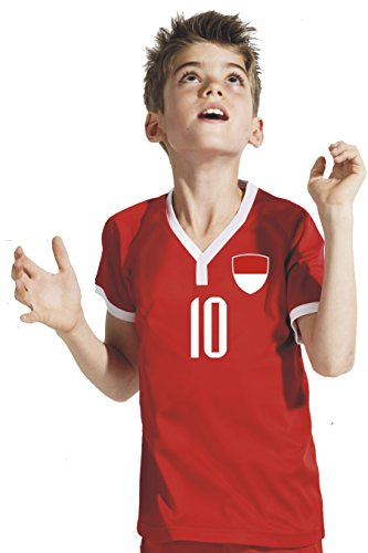 Aprom-Sports Indonésie Maillot de Football à Manches Longues pour Enfant – Pantalon Chaussettes avec Impression Personnalisable nom + numéro BBB WM 2018 9-10 Ans Rot