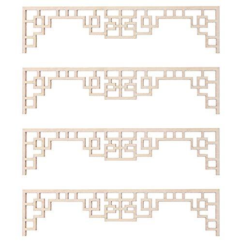 Amosfun 4 Unids Madera Tallada Onlay Esquina Sin Pintar Apliques de Flores Sin Terminar Recortes de Madera para DIY Crafting Ornamento Modelo Arquitectónico