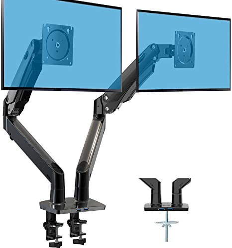 HUANUO Dual Monitor Stand Double Gas Spring Arm Monitor Desk Mount for Two 35 inch LCD LED Screens product image