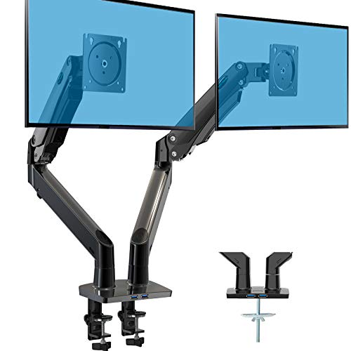 HUANUO Dual Monitor Stand - Double Gas Spring Arm Monitor Desk Mount for Two 35 inch LCD LED Screens, Height Long Adjustable VESA Mount with Clamp, Grommet Mounting Base, Hold up to 26.4lbs