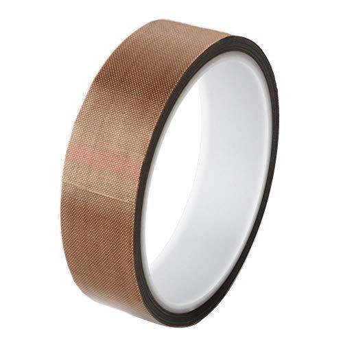 GTIWUNG Teflonband, Hochtemperaturband, PTFE Glasgewebeband/Glasklebeband, High Temp Klebeband, Hitzebeständig bis 260°C, Selbstklebend, 25mm x 10m