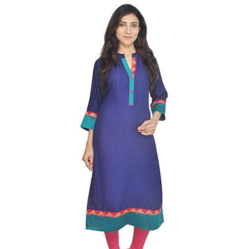 Indian Women's Embroidered Rayon Kurti Royal Blue Top By Chichi