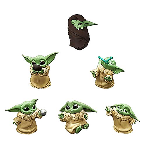 BESTZY Baby Yoda Spielzeug 6 Stück Baby Yoda Serie Actionfigur Spielzeug Stars Wars Das mandalorianische Doll Das Kind Sammlerpuppe Yoda Action Model Büro Ornament Kinder